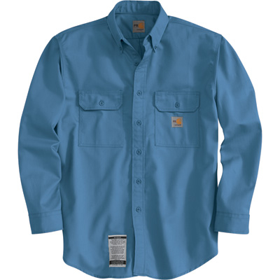 Carhartt Men's Flame-Resistant Twill Shirt with Pocket Flap - Blue, Large, Regular Style, Model# FRS160