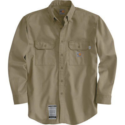 Carhartt Men's Flame-Resistant Twill Shirt with Pocket Flap - Khaki, 2XL, Tall Style, Model# FRS160