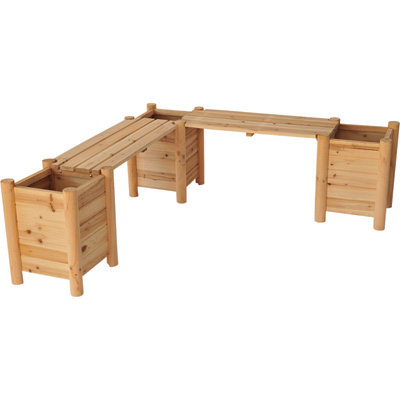 Stonegate Designs Wooden Double Planter Bench — Model# CSN-CPB-07-3