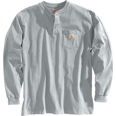 Carhartt Long-Sleeve Workwear Henley — Heather Gray, X-Large, Tall Style, Model# K128