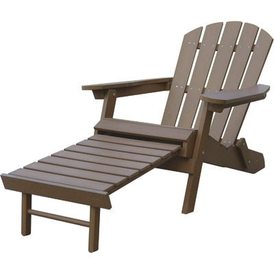 Stonegate Designs Resin Adirondack Chair with Built-In Ottoman — Brown, Model# 31396-A