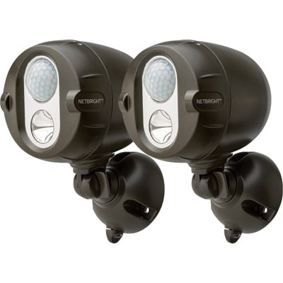 Mr. Beams Motion-Activated Wireless LED Spotlight with NetBright — 2 Pack, 200 Lumens, Brown, Model# MBN352
