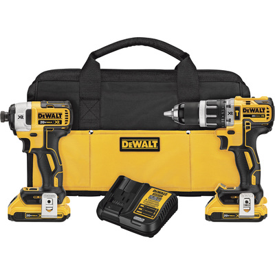 FREE SHIPPING — DEWALT 20V MAX XR Li-Ion Brushless Compact Power Tool Set — 1/2in. Hammerdrill & 1/4in. Impact Driver, With 2 Batteries, Model# DCK287D2
