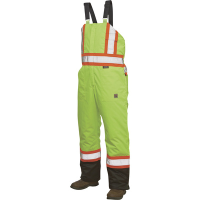 Work King Men's Class 2 High Visibility Lined Bib Overall — Lime, Regular Sizes, Model# S7982