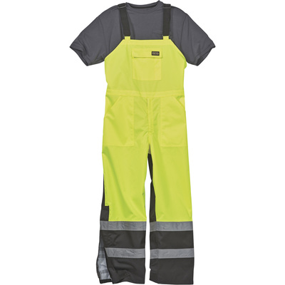 Gravel Gear HV Men's Class E High Visibility Rain Bibs with 3M Scotchlite Reflective Material — Lime