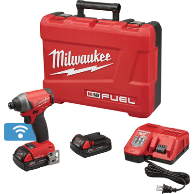 FREE SHIPPING — Milwaukee M18 FUEL Cordless Impact Driver Kit with ONE-KEY — 1/4in. Hex, 150 Ft.-Lbs. Torque, 2 Compact Batteries, Model# 2757-22CT