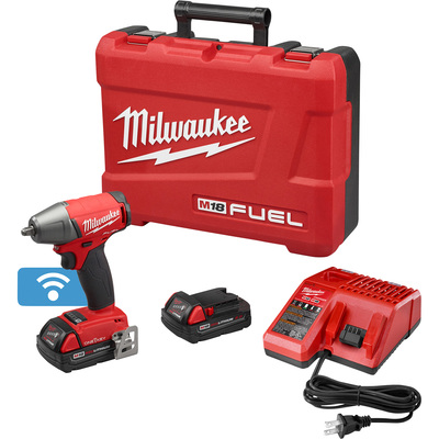 FREE SHIPPING — Milwaukee M18 FUEL Cordless Impact Wrench Kit with ONE-KEY — 3/8in. Drive with Friction Ring, 210 Ft.-Lbs. Torque, 2 Compact Batteries, Model# 2758-22CT