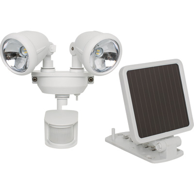 Maxsa Solar-Powered Motion-Activated Dual Head LED Security Spotlight — 160 Lumens, White, Model# 44217