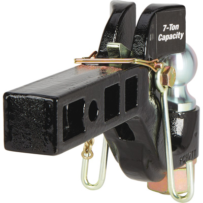 Ultra-Tow XTP Auto-Locking Dual-Purpose Pintle Hitch — 2in. Ball, 7-Ton Capacity (Lunette), 5-Ton Capacity (Coupler)