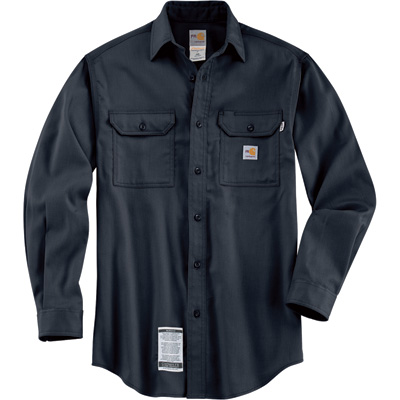 Carhartt Men's Flame-Resistant Work-Dry Twill Shirt - Navy, 4XL Tall, Model# FRS003
