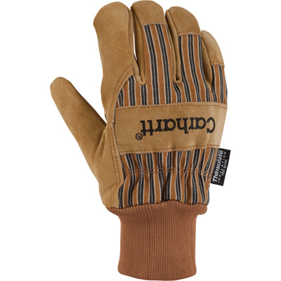 Carhartt Men's Knit Cuff Suede Work Gloves - Brown, Large, Model# A551