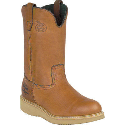 FREE SHIPPING — Georgia Men's 10in. Wellington Wedge Steel Toe EH Work Boots - Barracuda Gold, Size 9 1/2 Wide, Model# G5353