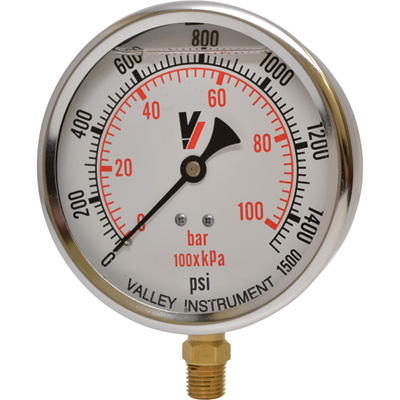 Valley Instrument Grade A 4in. Stem Mount Glycerin Filled Gauge - 0-1500 PSI