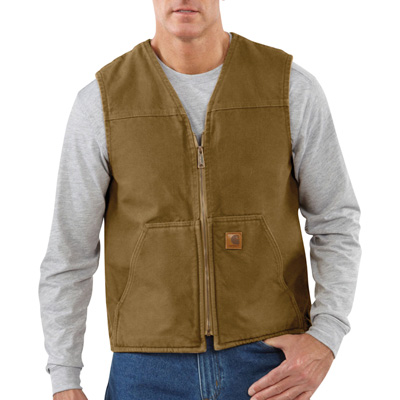 Carhartt Men's Rugged Vest With Sherpa Lining - Brown, XL, Model# V26-BG