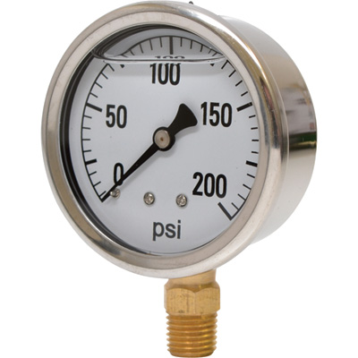 Valley Instrument 2 1/2in. Stainless Steel Glycerin Gauge — 0-200 PSI
