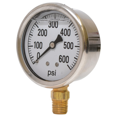 Valley Instrument 2 1/2in. Stainless Steel Glycerin Gauge - 0-600 PSI