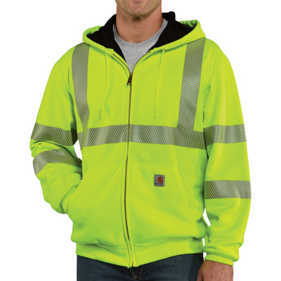Carhartt Men's Class 3 High Visibility Zip-Front Thermal-Lined Sweatshirt — Lime, XL, Tall Style, Model# 100504-323