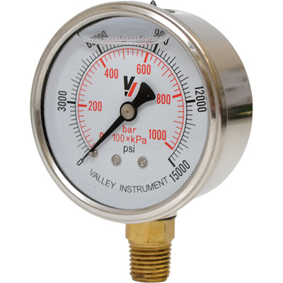 """Valley Instrument 2 1/2in. Stainless Steel Glycerin Gauge - 0-15,000 PSI"""