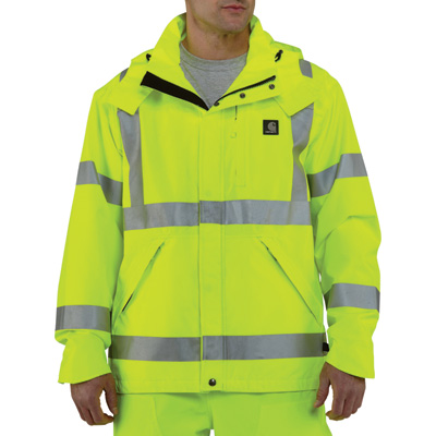 Carhartt Men's Class 3 High Visibility Waterproof Jacket — Lime, XL/Tall Style, Model# 100499
