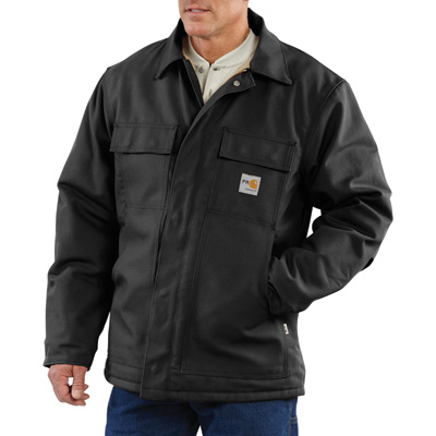 Carhartt Men's Flame-Resistant Duck Traditional Coat - Black, Large/Tall Style, Model# 101618-001