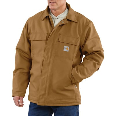 Carhartt Men's Flame-Resistant Duck Traditional Coat - Brown, Large/Tall Style, Model# 101618-001