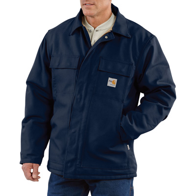 Carhartt Men's Flame-Resistant Duck Traditional Coat - Navy, 2XL/Tall Style, Model# 101618-001