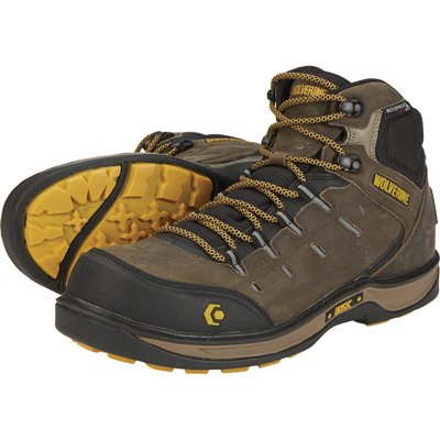 Wolverine Men's Edge LX Waterproof Safety Toe 5 1/2in. Work Boots -Taupe/Yellow, Size 11, Model# W10554