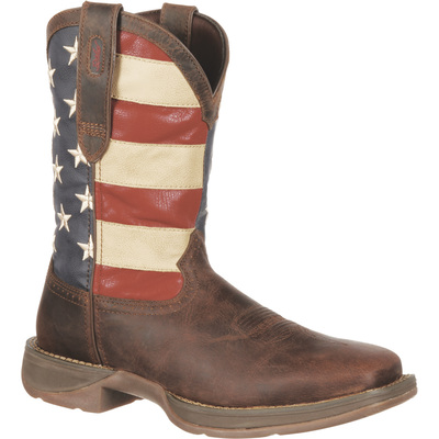 Durango Men's 11in. American Flag Western Pull-On Work Boots - American Flag, Size 8 Wide, Model# DB5554