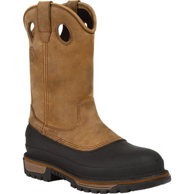 Georgia Men's Muddog 11in. Waterproof Steel Toe Wellington Boots - Mississippi Brown, Size 12, Model# G5594