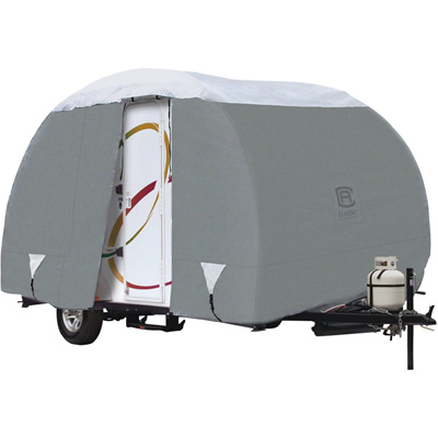 Classic Accessories Overdrive PolyPRO 3 Deluxe R-Pod Travel Trailer Cover — Gray and White, Fits R-Pod Travel Trailers Up To 16.5ft.L, Model# 80-198-141001-00
