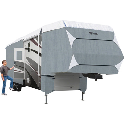 Classic Accessories Overdrive PolyPRO 3 Deluxe 5th Wheel Cover — Gray and White, Fits 26ft.L-29ft.L x 130in.H 5th Wheel Trailers, Model# 80-347-163101-RT