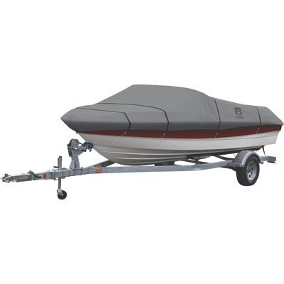 Classic Accessories Lunex RS-1 Trailerable Boat Cover — Fits 14ft.–16ft. V-Hull and Tri-Hull Runabouts (Outboards and I/O) and Aluminum Bass Boats (Beam Width up to 90in.), Gray, Model# 20-141-091001-00
