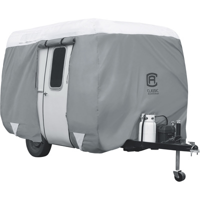 Classic Accessories OverDrive PolyPRO 3 Molded Fiberglass Travel Trailer Cover — Gray and White, Fits 10ft.L–12ft.L Molded Fiberglass Travel Trailers, Model# 80-294-143101-RT
