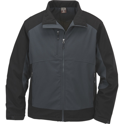 FREE SHIPPING - Gravel Gear Men's Double Weave Insulated Ripstop Softshell Jacket - Tar Black, 2XL