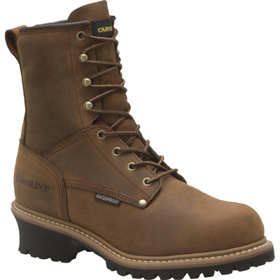 FREE SHIPPING — Carolina Men's 8in. Waterproof Insulated Steel Toe Logger Work Boots - Brown, Size 7 1/2 Wide, Model# CA5821