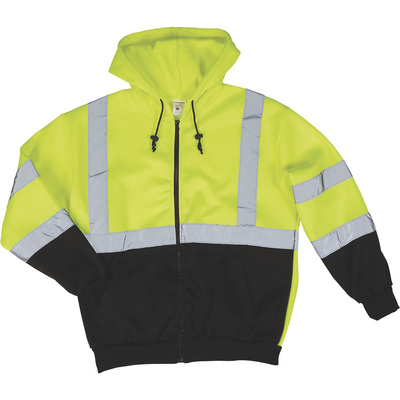 Forester Men's Class 3 High Visibility Hooded Safety Sweatshirt — Lime/Black, XL