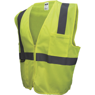 Radians Men's Class 2 High Visibility Mesh Zip-Front Safety Vest — Lime, Large, Model# SV2ZGM