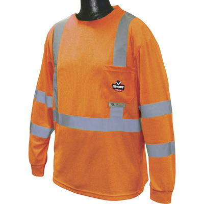 Radians RadWear Men's Class 3 High Visibility Long Sleeve Safety T-Shirt with UV Protection — Orange, Medium, Model# ST21UV-3POS