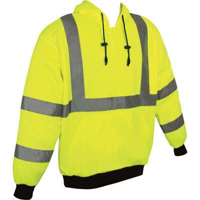 Radians Men's Class 3 High Visibility Fleece-Lined Pullover Hooded Sweatshirt — Lime, Model# SJ02-3PGS-2XL