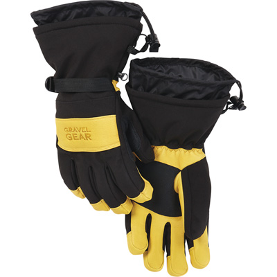 FREE SHIPPING — Gravel Gear Insulated Deerskin Gauntlet Gloves — Black/Tan, Large
