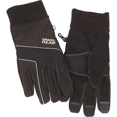 FREE SHIPPING — Gravel Gear Windproof Nylon Stretch Gloves — Black