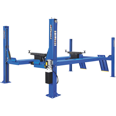 FREE SHIPPING — Forward Lift 4-Post Open Front Truck and Car Lift — 14,000 Lb. Capacity, 182 1/2in. Wheelbase, Blue, Model# CRO14N100YBL