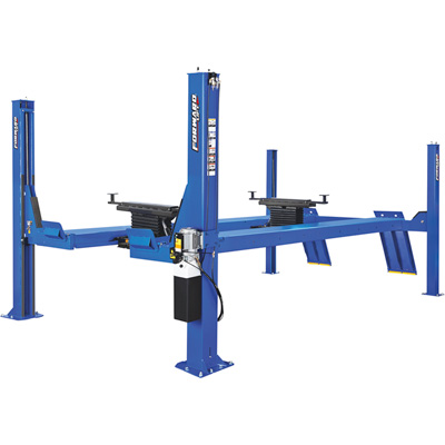 FREE SHIPPING — Forward Lift 4-Post Open Front Truck and Car Lift with Extra Long Wheelbase — 14,000 Lb. Capacity, 215in. Wheelbase, Blue, Model# CR14N102YBL