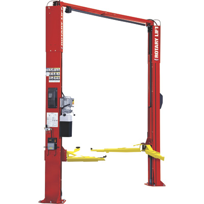 FREE SHIPPING — Rotary 2-Post Asymmetrical Car Lift with Trio Design and Round Adapters — 10,000-Lb. Capacity, Red, Model# SPOA10N8G0RD