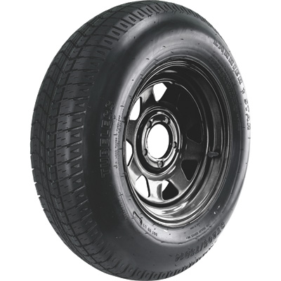 FREE SHIPPING — Kenda Bias Ply Trailer Tire and Black 5-Hole Steel Wheel Assembly — ST205/75D14