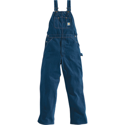 Carhartt Men's Washed Denim Bib Overall - Unlined, 32in. Waist x 28in. Inseam, Regular Style, Model# R07