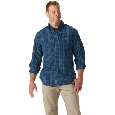 FREE SHIPPING - Gravel Gear Men's Yarn-Dyed Ripstop Work Shirt - Blue, Medium