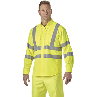 FREE SHIPPING — Gravel Gear Men's Class 3 High Visibility Breathable Long Sleeve Safety Shirt with UPF — Lime, XL