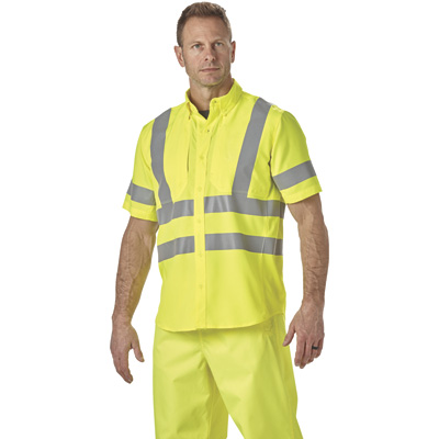 FREE SHIPPING — Gravel Gear Men's Class 2 High Visibility Breathable Short Sleeve Safety Shirt with UPF — Lime, 2XL