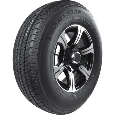 Kenda Loadstar Karrier Radial Trailer Tire and 6-Hole Aluminum Wheel with Hub Cap — 225/75R–15 LRD, Black
